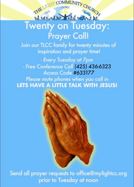 the light community church prayer call flyer